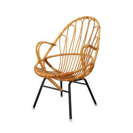 Vintage Cane Circle Chair on Black Legs