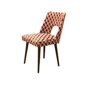 Brown Geometric Chair on Wooden Legs