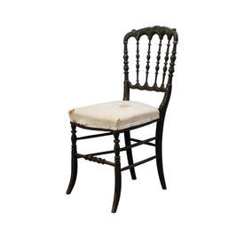 Black & Gold Ornate Spindle Back Chair with Cream Seat