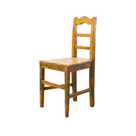 Orange & Green Distressed Wooden Chair