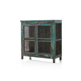 Wooden Painted Blue & Mesh Larder Cabinet