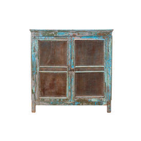 Wooden Painted Blue & Mesh Larder Cabinet