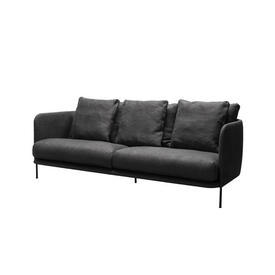 "Charcoal Grey Fabric ""Bonnet"" 3 Seater Sofa & 6 Cushions"