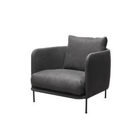 "Charcoal Grey Fabric ""Bonnet"" Armchair"