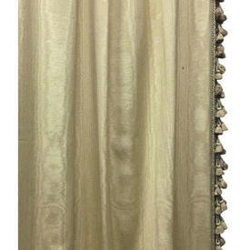 "Pair Drapes 13'6"" x 6' Lemon Watersilk Moire / Tassel Fringe"
