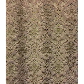 "Pair Drapes 13'6"" x 4' Sand Floral Medallion Cut Velvet"