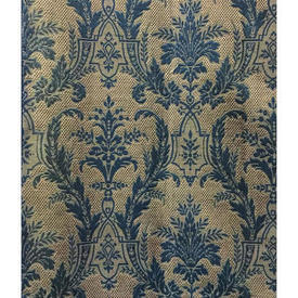 "Pair Drapes 13'3"" x 4' Airforce Floral Scroll Tapestry / Braid"
