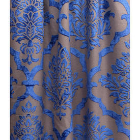 """Pair Drapes 13'2"""" x 11' Beige / Bright Royal Large Classical Flock"""