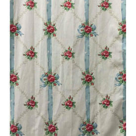 Pair Drapes 13' x 6' Sky Floral Bows Lattice Stripe Chintz