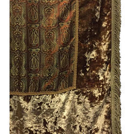 "Pair Drapes 12'8"" x 4' Brown Paisley Silk / Crushed Velvet Border / Fringe"