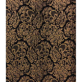 "Pair Drapes 12'9"" x 6'6"" Black Pomegranates Metallic Jacquard"