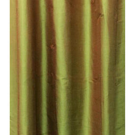 "Pair Drapes 12'9"" x 3'6"" Lime Silk Shantung"
