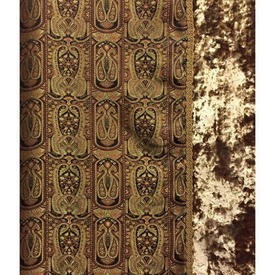 "Pair Drapes 12'6"" x 4' Brown Paisley Silk / Crushed Velvet Border / Fringe"