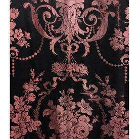 "Pair Drapes 12'3"" x 4' Black Shredded Large Floral Silk Damask"