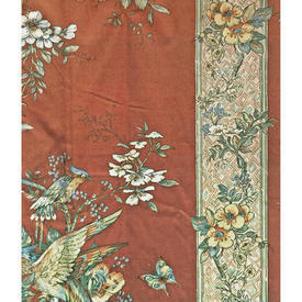 Pair Drapes 12' x 6' Chestnut Large Floral & Bird Stripe Sateen