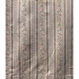 Pair Drapes 12' x 6' Beige Regency Style Stripe Sateen / Fringe