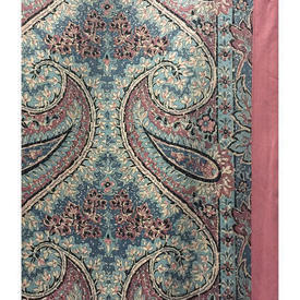Pair Drapes 12' x 6' Turquoise Paisley Print Sateen