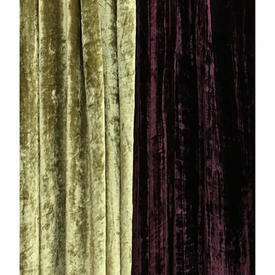 "Pair Drapes 12'1"" x 23'6"" Plum / Lime Stripe Panne (Eyelet Tie Tops)"