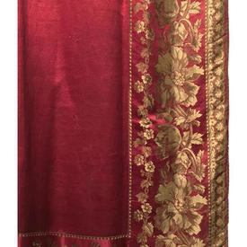 Pair Drapes 12' x 5' Red Shredded Satin / Woven Floral Silk Border