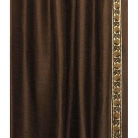 Pair Drapes 12' x 4' Brown Silky Dupion / Braid