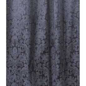 Pair Drapes 12' x 10' Navy Classical Tex. Damask