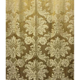 Pair Drapes 12' x 8' Yellow Geo Floral Damask