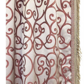 "Pair Drapes 11'9"" x 9' Pink Scroll Satin / Fringe"