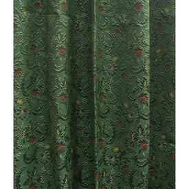 "Pair Drapes 11'9"" x 4' Emerald All-Over Small Floral Silky Brocatelle"