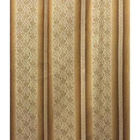 "Pair Drapes 11'9"" x 6' Gold Wide Stripe Sateen"