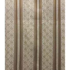 "Pair Drapes 11'9"" x 6' Beige Wide Stripe Sateen"