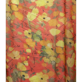 "Pair Drapes 11'9"" x 6' Orange Floral Voile"