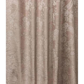 "Pair Drapes 11'9"" x 6' Rose Floral Ribbons Silky Damask"