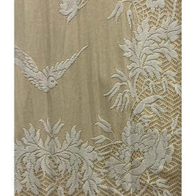 "Pair Drapes 11'9"" x 4' Gold Cotton / Lace Overlay / Fringe"