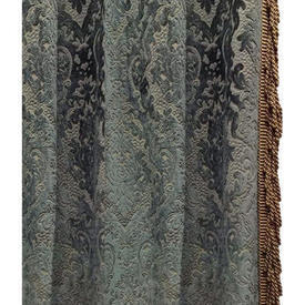 "Pair Drapes 11'9"" x 6' Airforce Floral Cut Velvet / Heavy Bullion Fringe"