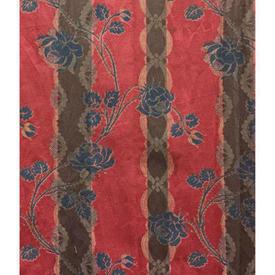 "Pair Drapes 11'9"" x 6' Raspberry Boussac Saint Freres Katarina Floral Stripe Damask"