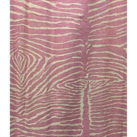"Pair Drapes 11'3"" x 8' Rose Faded Zebra Print Linen"
