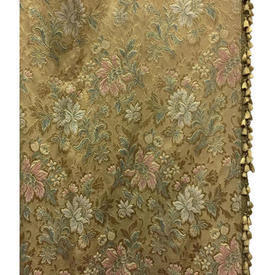 "Pair Drapes 11'3"" x 6' Gold Floral Brocade / Fringe"