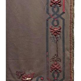 "Pair Drapes 11'3"" x 4' Grey Faded & Shredded Wool / Ribbon Applique Border"