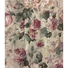 "Pair Drapes 11'3"" x 4' Raspberry / Sea Soft Floral Linen"