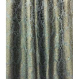 "Pair Drapes 11'4"" x 11'4"" Aqua Floral Metallic Silk Organza"