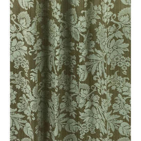 "Pair Drapes 11'3"" x 4' Aqua / Oyster Large Floral Damask"
