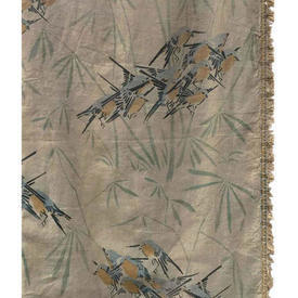 "Pair Drapes 11'6"" x 4' Beige Faded Swallows Print Linen / Fringe"