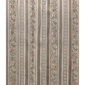"Pair Drapes 11'6"" x 6' Beige Regency Style Stripe Sateen"