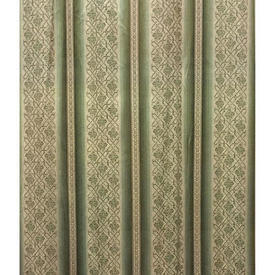 "Pair Drapes 11'6"" x 4' Sage Wide Stripe Sateen"