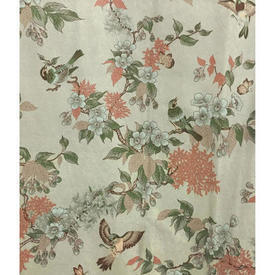 "Pair Drapes 11'6"" x 6' Mint Birds & Floral Branches Sateen"