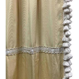"Pair Drapes 11'6"" x 4' Lemon Moire / Braid"