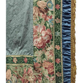 "Pair Drapes 11'6"" x 6' Cerulean / Sky Large Floral Linen / Ruched Border"