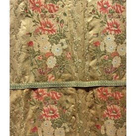 "Pair Drapes 11'6"" x 4' Yellow Floral Brocade"