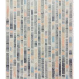 Pair Drapes 11' x 6' Silver Blocks Stripe Cotton