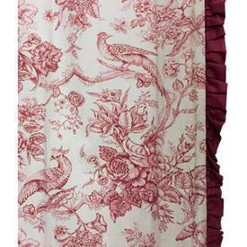 Pair Drapes 11' x 6' Maroon Floral & Bird Toile / Frill